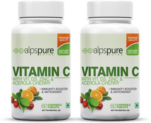 ALPSPURE Vitamin C Immunity Booster Antioxidant Tablets with Zinc & D3 (Pack of 2)