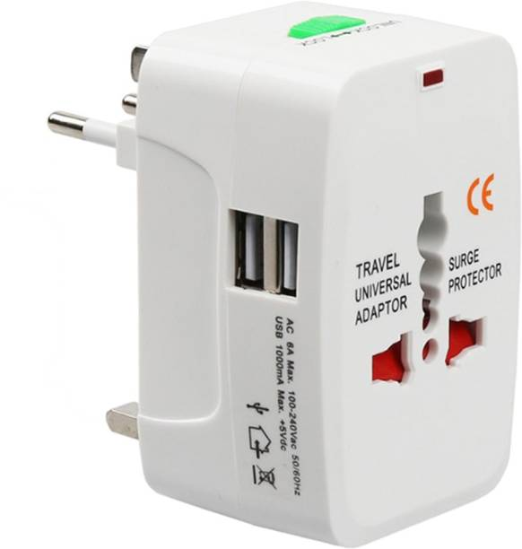 Easy eBuy Universal Travel Adapter With Built In Dual USB Charger Ports With 100-240V Surge/Spike Protected Electrical Plug Worldwide Adaptor