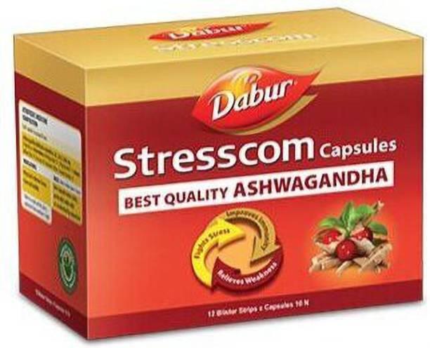 Dabur Stresscom BEST QUALITY Ashwagandha 30 Caps (10 caps X 3 strips) for Mental Wellness and Stress Relief