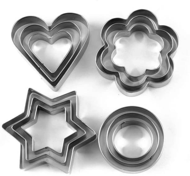 NNPRO S_E 12 Piece Set Stainless Steel Pastry Cookie Biscuit Cutter Cake Muffin Decor Mold Multifunctional Tool Cookie Cutter
