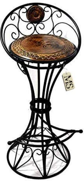 manzees Wood & Wrought Iron Chair/Bar Chair/Bar Stool/Stool for Living Room/Home Decorations Engineered Wood Bar Chair