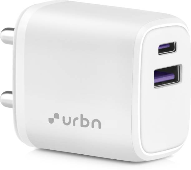 URBN 20W Dual Port Super Fast Charger with Quick Charge 3.0 & Power Delivery 3.0 1.67 A Multiport Mobile Charger with Detachable Cable