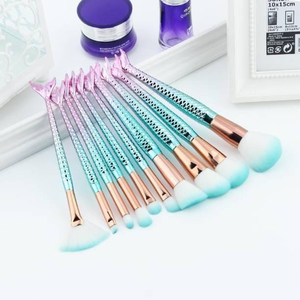 Sixplus Fish Soft Nylon Bristles Beauty Brushes Kit (PACK OF 10 )GREEN