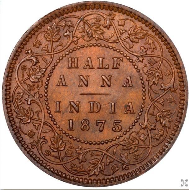 Numismatic HALF ANNAA 1875 ,,,FINE RARE PIC Modern Coin Collection