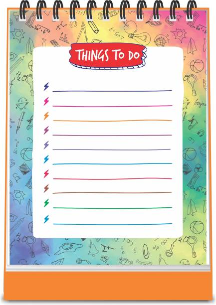 ESCAPER Multicolor Theme Things To Do Notepad (Standing - A6 Size - 48 Paper Leaves) | Things To Do Memopad | Things To Do Diary A6 Memo Pad Ruled 48 Pages