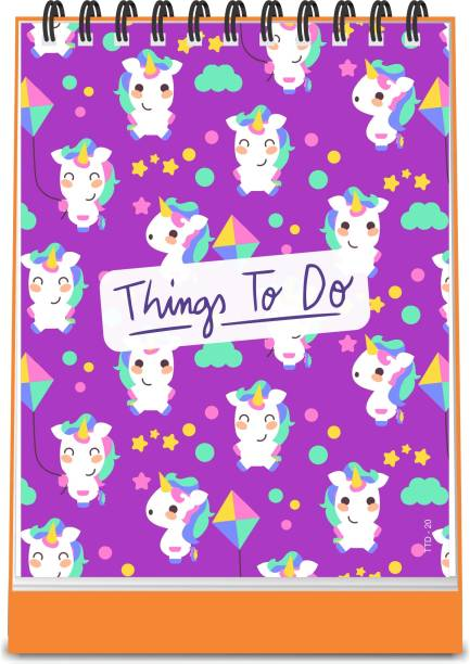 ESCAPER Unicorn with Kites Theme Things To Do Notepad (Standing - A6 Size - 48 Paper Leaves)| Things To Do Memopad | Things To Do Diary A6 Memo Pad Ruled 48 Pages