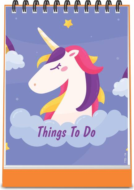 ESCAPER Unicorn Horse Theme Things To Do Notepad (Standing - A6 Size - 48 Paper Leaves)| Things To Do Memopad | Things To Do Diary A6 Memo Pad Ruled 48 Pages