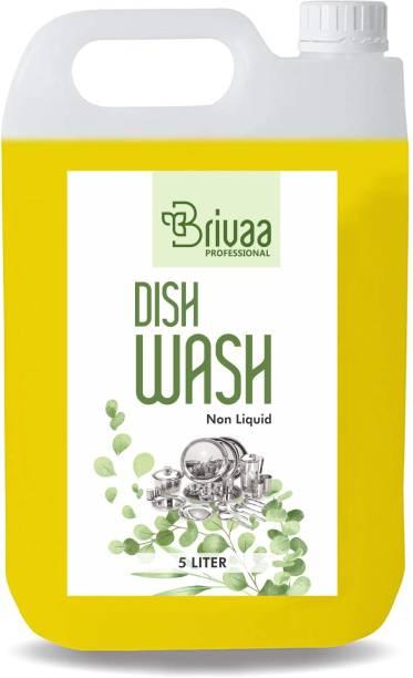 brivaa 5 LTR Non Acidic dish wash Liquid Detergent (5 l) Dish Cleaning Gel (lemon, 5 L) Dishwash Bar