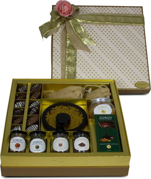 Zoroy Luxury Chocolate Festive tie up hamper Box of dry fruits, Honey and chocolates Combo