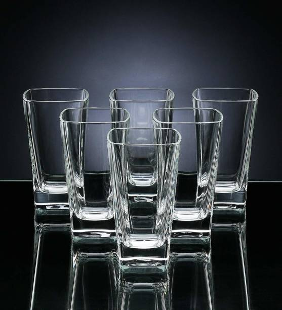 BRIGHTLIGHT TRADERS (Pack of 6) Crystal Clear Glass for Juice, Water, Milk, Mocktail, Cocktail, Beer, Wine, Whiskey, Soda - Set of 6 - 400 ML Glass Set