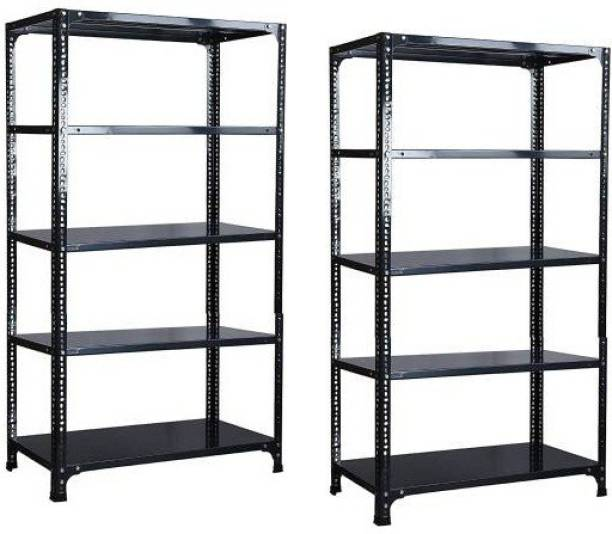 """Spacious Slotted Angle CRC Sheet 5 Shelves Multipurpose Storage Rack Dimension 12""""X24""""X60 Luggage Rack Pack of 2 Luggage Rack"""