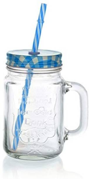 Satyam Kraft Mason Glass Jar - BLUE Pattern lid with folded straw and handle Glass Mason Jar
