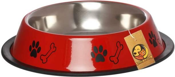 FOODIE PUPPIES Paw Bone Bowl Red 700ML Round Steel Pet Bowl