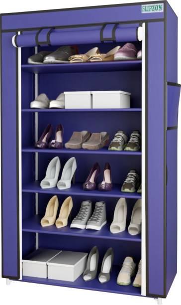 FLIPZON Iron and Fabric Multi-Purpose Shoe Rack, 6 Shelf, Metal Shoe Stand