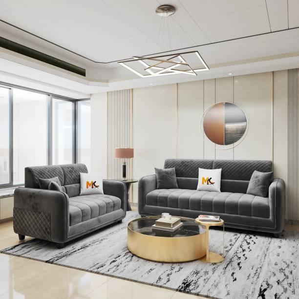Mobilia Craft Euro Fabric 3 + 2 Grey Sofa Set