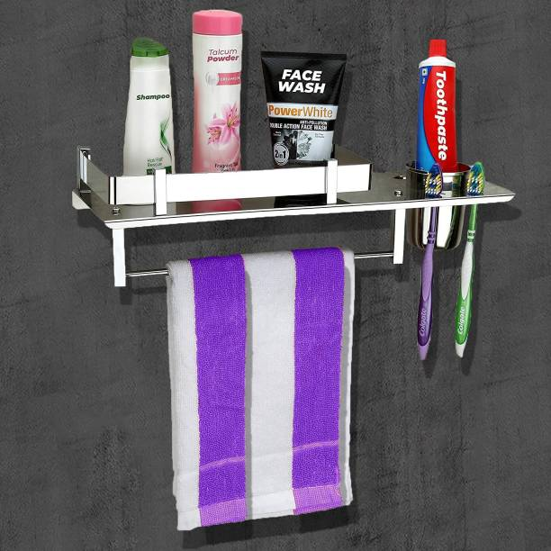 GLOXY by GLOXY Stainless Steel 3 in 1 Multipurpose Bathroom Shelf/Rack/Towel Hanger/Tumbler Holder/Chrome finish Bathroom Accessories (15 x 6 Inches) - Pack of 1 Silver Towel Holder