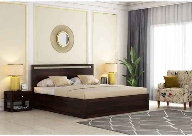 EBANSAL Solid Wood King Drawer Bed