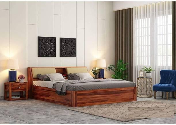EBANSAL Solid Wood King Box Bed