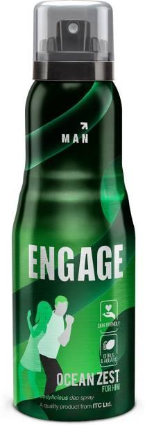 Engage Ocean Zest, Citrus and Aquatic, Skin Friendly Deodorant Spray  -  For Men