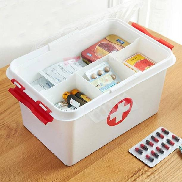Hervee Plastic First Aid Box Lockable Medicine Storage Box Emergency Cabinet Organizer with Detachable Tray and Handle Portable Cabinet for Home Camping Travel and Car First Aid Kit