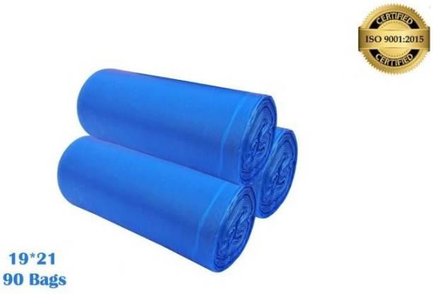 sgrsn enterprises Home ,kitchen 19x21 ( 3 Roll X 30 pcs = 90 Bags ) BLUE Garbage Bags/Trash Bags/Dustbin Bags. Medium 12 L Garbage Bag