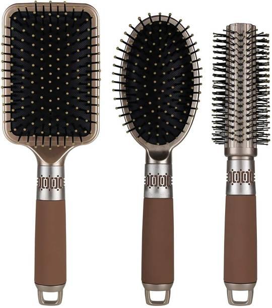 NVTED Hair Brush Set with Detangling Nylon Pins Massage Paddle Brush Cushion Hair Combs Hair Dryer Brush for Women Men Kids Girls