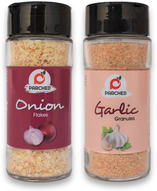 Parched Onion Flakes and Garlic Granules Combo (60G, 60G)  NO Preservatives  NO Chemicals   Himalayan Herbs