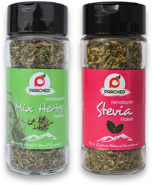Parched Mixed Herbs and Stevia Leaves Combo (20G, 15G)  NO Preservatives  NO Chemicals   Himalayan Herbs