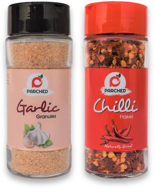 Parched Chilli Flakes and Garlic Granules Combo (40G, 60G)  NO Preservatives  NO Chemicals   Himalayan Herbs