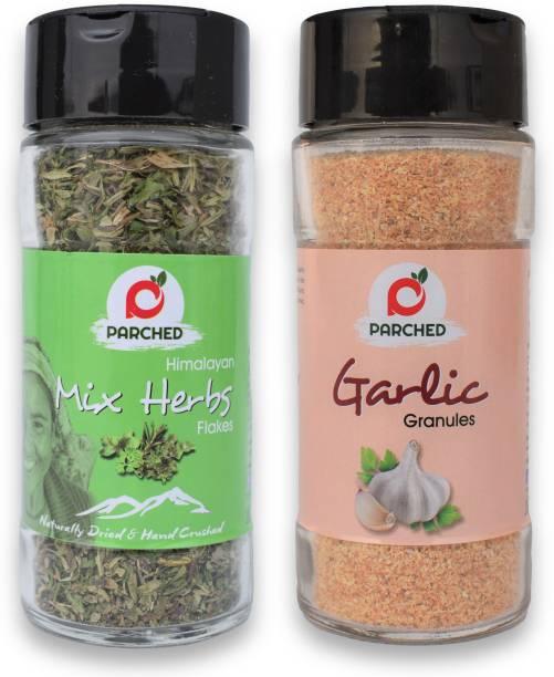 Parched Mixed Herbs and Garlic Granules Combo (20G, 60G)  NO Preservatives  NO Chemicals   Himalayan Herbs