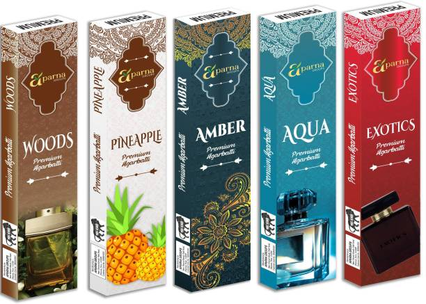 Aparna Groups WOODS, AQUA, AMBER, PINEAPPLE, EXOTICS Premium Fragrance Incense Sticks (Approx 40 Sticks in 1 pack) - Pack of 5 AQUA, AMBER, WOODS, PINEAPPLE, EXOTICS