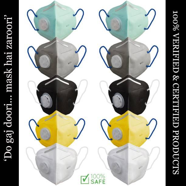 Foxter Multi Color Unisex Reusable & Washable N-95 5 Layer 10 Mask
