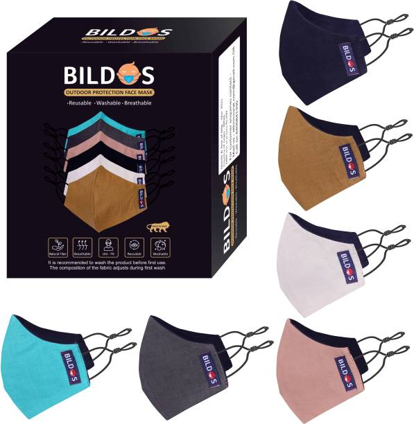 BILDOS 3 Layer Pure Cotton Cloth Mask 6 Pcs Super Breathable Cloth Mask with SMMS Filter Layer Reusable Cloth Mask With Melt Blown Fabric Layer