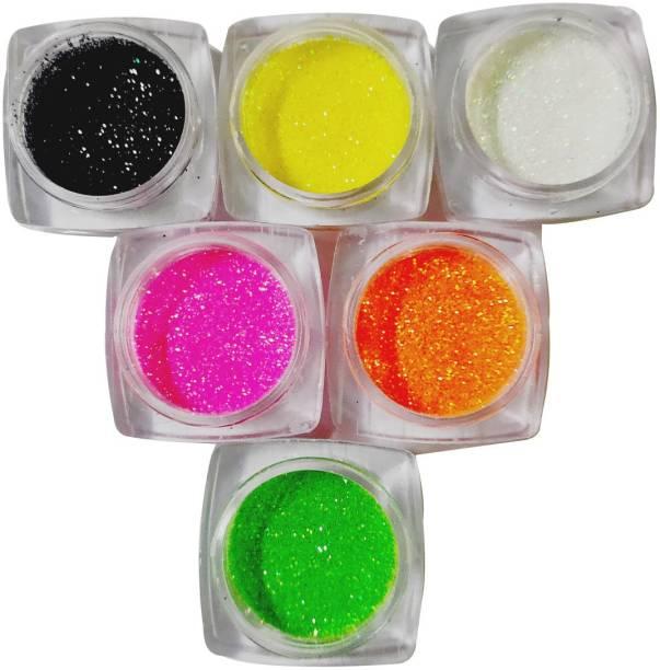 VOZWA Neon Glitter Powder for Nail Art Decoration - 6 Pcs