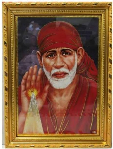 Dalvkot Lord Shirdi Sai Saibaba Nice Background Gold Coated Synthetic Photo Framefor Wall Hanging Puja Mandir Religious Frame