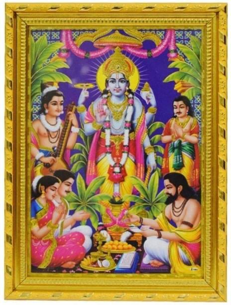 Dalvkot Lord Satyanarayana Swamy Vishnu Avatar Gold Coated Synthetic Photo Frame for Wall Hanging Puja Mandir Religious Frame