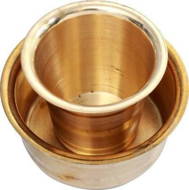 Rolimoli Coffee set Pack of 1 Brass Brass Dabara Set Bowl, Glass Serving Set