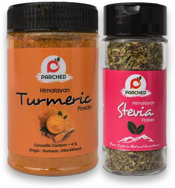 Parched Himalayan Turmeric Powder and Himalayan Stevia Flakes (150G, 15G)  NO Preservatives  Handmade   Himalayan Origin