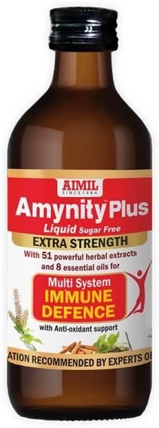 AIMIL Amynity Plus Syrup Enriched with Amla, Giloy, Tulsi, Ashwagandha, and 7 more herbs | Natural Immunity Booster (Pack of 1)
