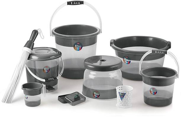 Liza Plastic Deluxe Bathroom Set Bucket 21l Mug Stool (Set of 9, Grey, Rio) 21 L Plastic Bucket