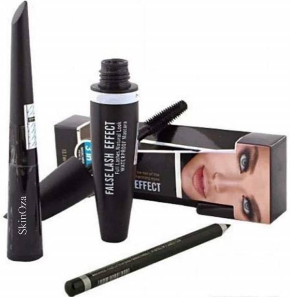 SkinOza Eyebrow Pencil Black & Liquid EyeLiner & Mascara