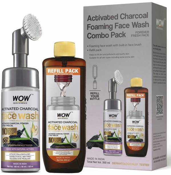 WOW SKIN SCIENCE Activated Charcoal Foaming  Save Earth Combo Pack- Consist of Foaming  with Built-In Brush & Refill Pack - No Parabens, Sulphate, Silicones & Color - Net Vol. 350mL Face Wash