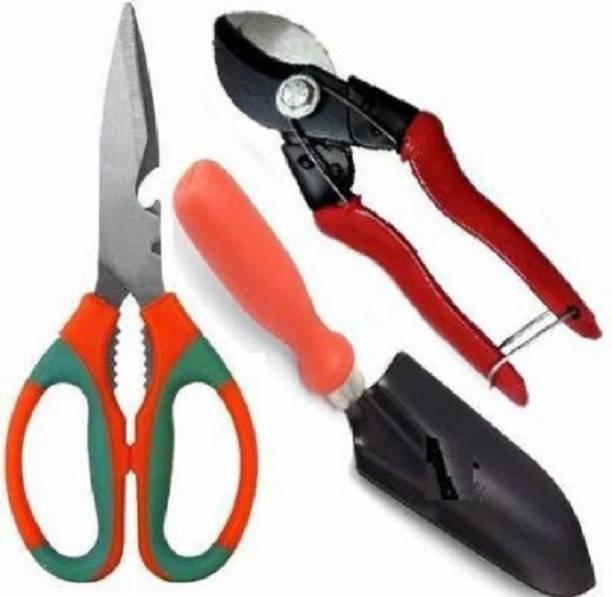 Flipkart SmartBuy Garden Scissor, Double Cut Pruner and Small Trowel, Garden Tools Combo Garden Tool Kit