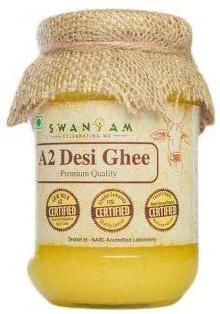 Swanyam a2 ghee | a2 Desi Cow Ghee | Desi Ghee 500 gm | a2 Bilona ghee | Desi Grass Fed Cow ghee | Pack of 1 Ghee 500 g Glass Bottle