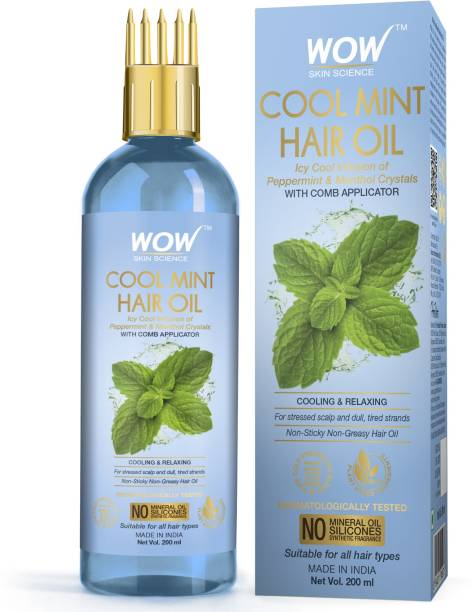 WOW SKIN SCIENCE Cool Mint Hair Oil - with Comb Applicator - Non Sticky & Non Greasy - for All Hair Types - No Mineral Oil, Silicones, Synthetic Fragrance - 200mL Hair Oil