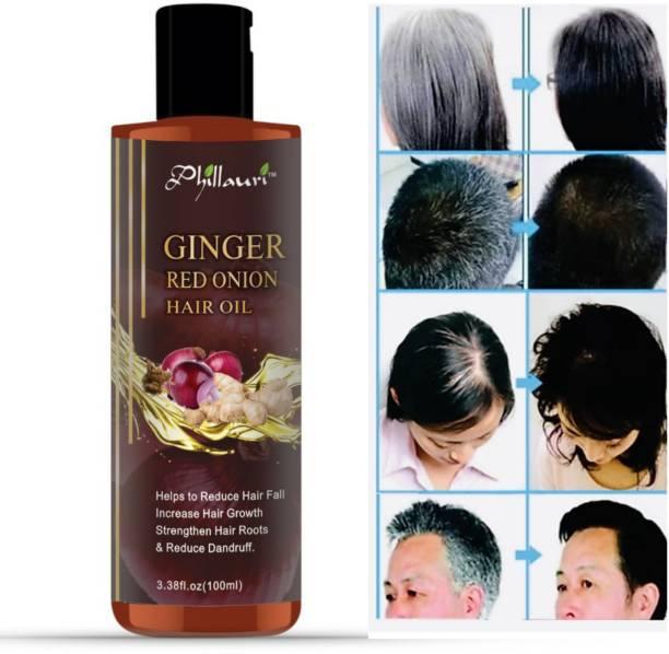 Phillauri Ginger Onion Oil for Hair Regrowth & Hair Fall Control Hair Oil (100 ml) Hair Oil