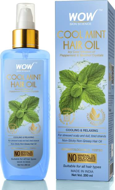 WOW SKIN SCIENCE Cool Mint Hair Oil - Non Sticky & Non Greasy - for All Hair Types - No Mineral Oil, Silicones, Synthetic Fragrance - 200mL Hair Oil