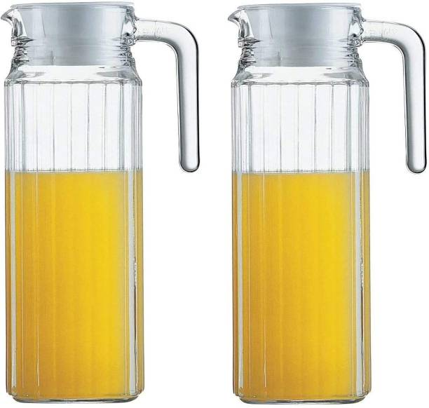 JIGSHTIAL 1.1 L Water 1100 ml ( Set of 2) pcs-2, Glass jug Pitcher with lid iced Tea Pitcher Water jug hot Cold Water ice Tea, Milk and Juice Carafes 1.1 LTR Jug