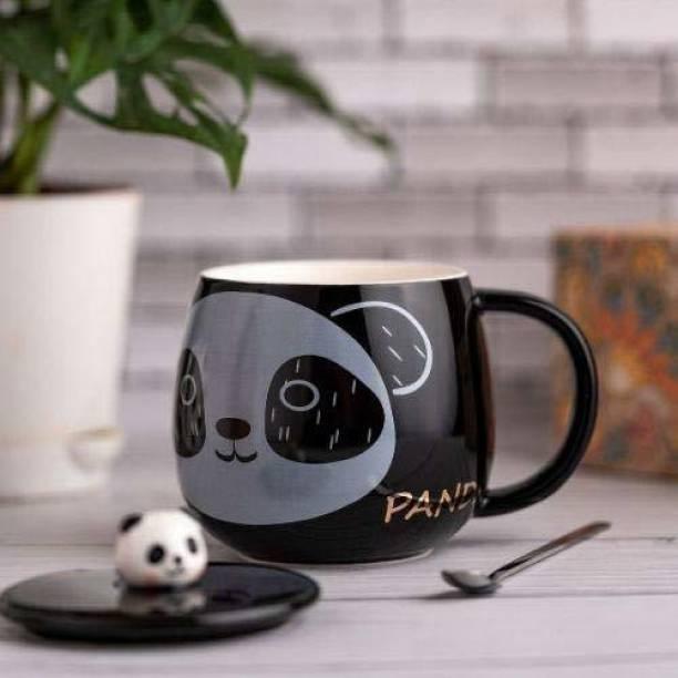 Upscale Cute 3D Ceramic Panda Coffee with Concave Lid & Stainless Steel Spoon - Black - 450 ML - 1 Piece - Multi Design Ceramic Coffee Mug