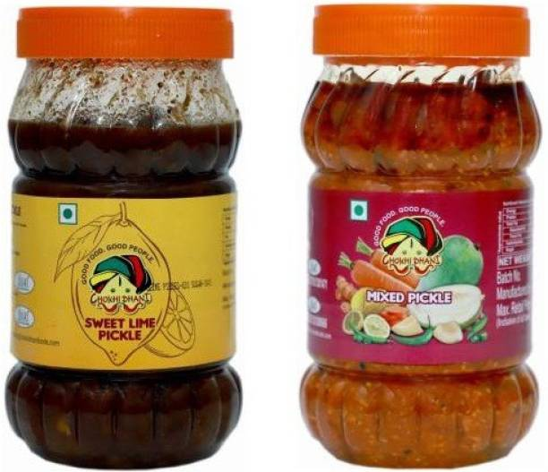 Chokhi Dhani Foods Mix Pickle 1 kg Sweet Lime Pickle 1 kg Lime, Mixed Pickle